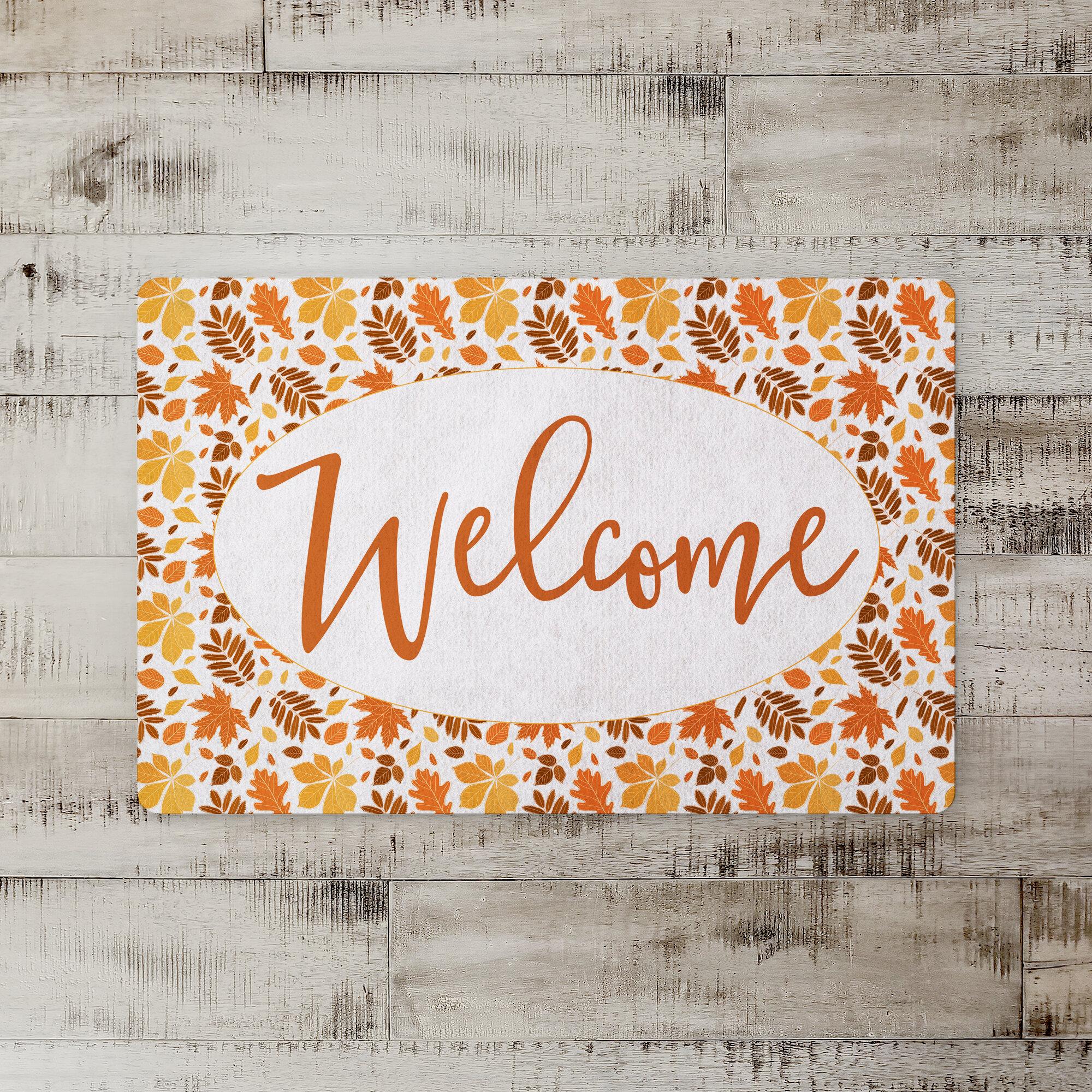 Rosenkranz Welcome Autumn Leaves Kitchen Mat Birch Lane