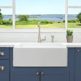 27 L x 19 W Farmhouse Fireclay Kitchen Sink with Drain and Grid