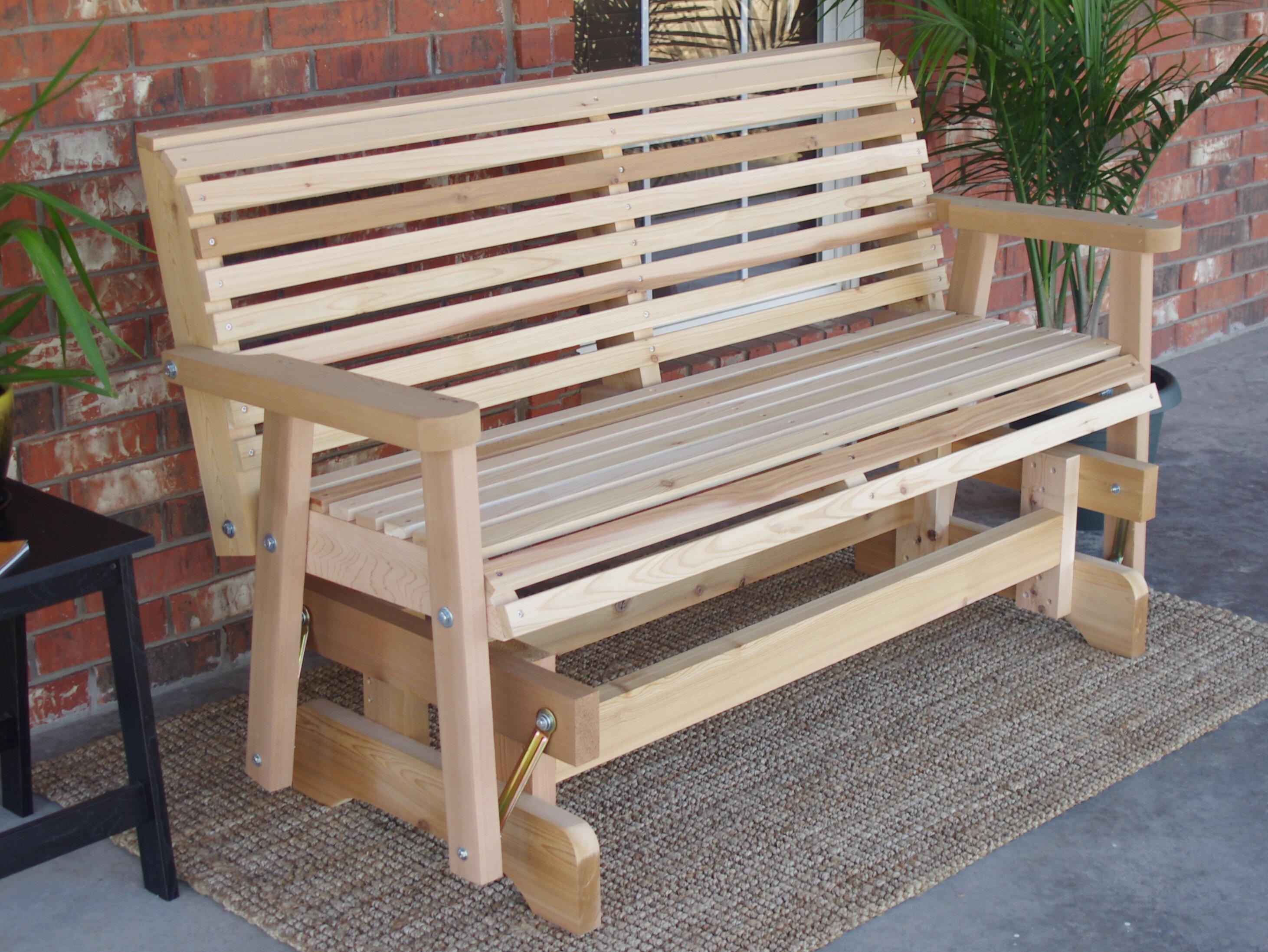 Peachy Millwood Pines Jessica Cedar Glider Bench Wayfair Creativecarmelina Interior Chair Design Creativecarmelinacom