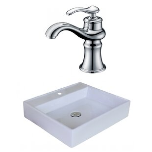 Compare Ceramic Square Vessel Bathroom Sink with Faucet and Overflow ByAmerican Imaginations