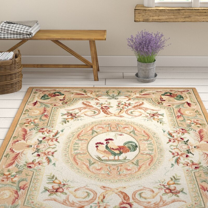 August Grove Kinchen Hand-Hooked Wool Taupe/Red/Green/Orange Area Rug, Size: Rectangle 6 x 9