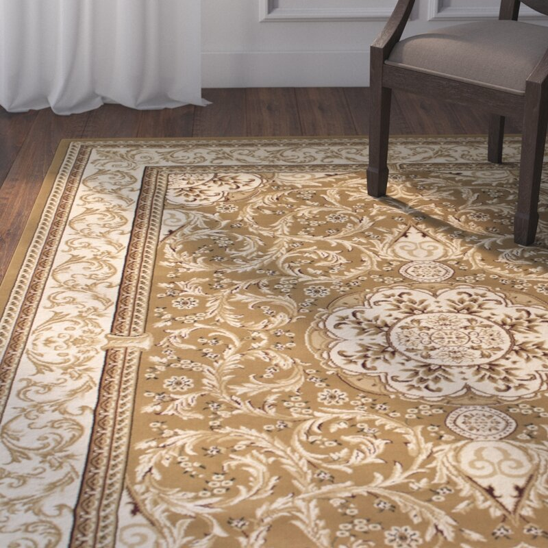 Arpdale High End Ultra Dense Thick Bordered Floral Beige Area Rug