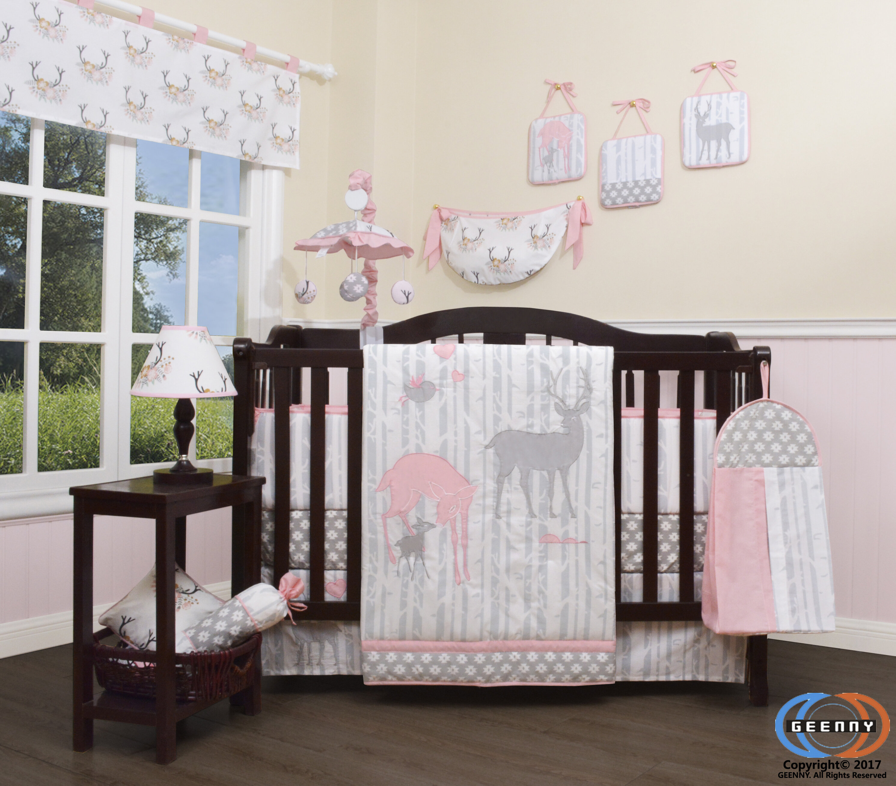 Risinger Baby Girl Deer Family Nursery 22 Piece Crib Bedding Set