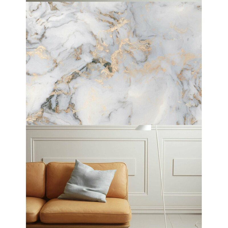 Everly Quinn Lemoore Peel And Stick White Marble Pattern Gold Abstract Removable Wallpaper Wayfair