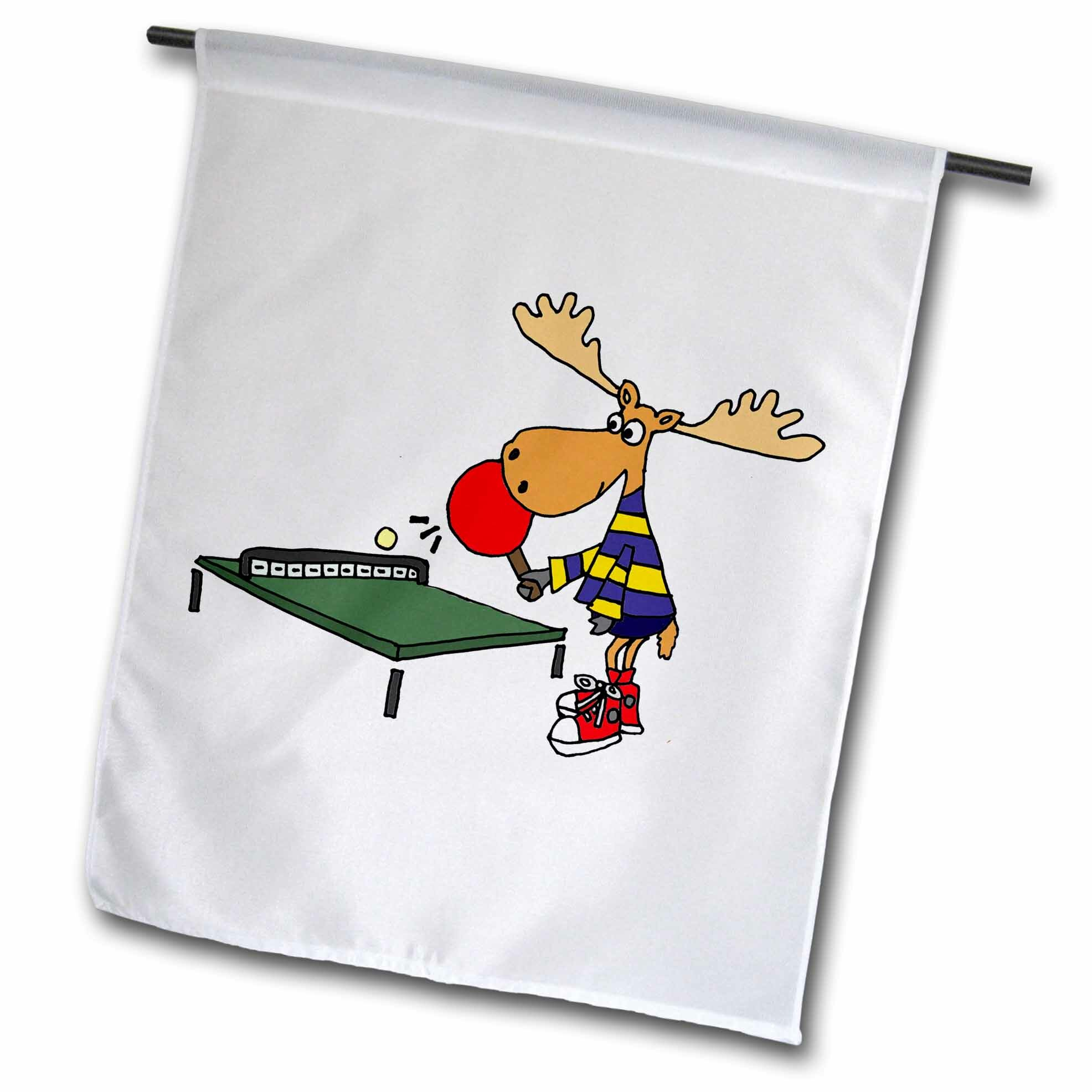 3drose Funny Moose Playing Table Tennis Or Ping Pong Cartoon Polyester 18 X 12 In Garden Flag Wayfair