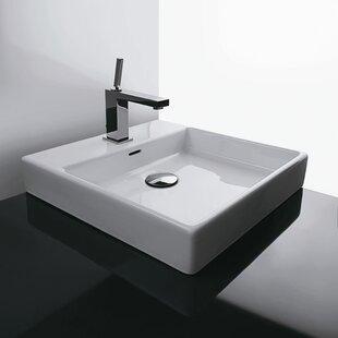 Plain Ceramic Ceramic Square Vessel Bathroom Sink with Overflow
