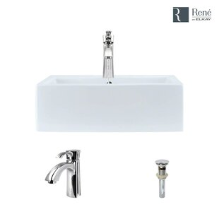 Price comparison Vitreous China Rectangular Vessel Bathroom Sink with Faucet and Overflow By René By Elkay