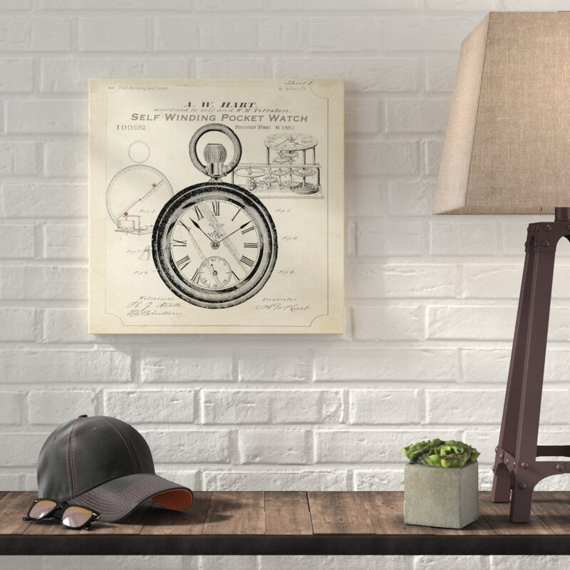 'Industrial Patent: Pocket Watch' Graphic Art Print on Wrapped Canvas