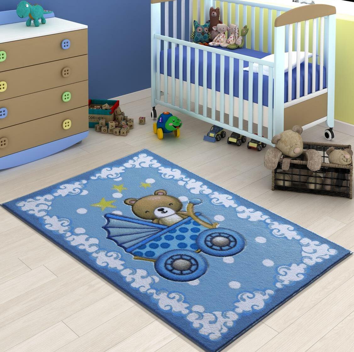 Zoomie Kids Isola Animal Print Dhurrie Blue Area Rug Wayfair