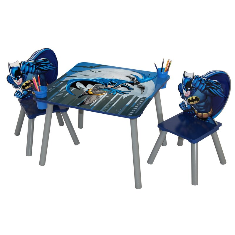 Warner Brothers Batman Wooden Kids\' 3 Piece Table and Chair Set ...