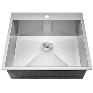 25 X 22 Drop In Top Mount Stainless Steel Single Bowl Kitchen Sink W Dish Grid And Drain Strainer Kit
