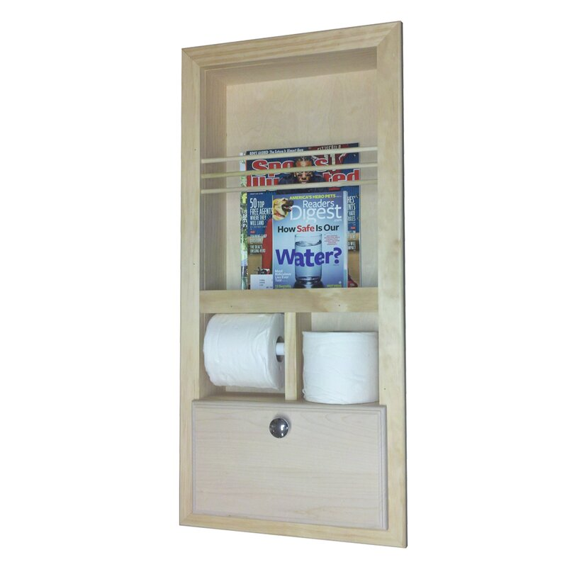 WG Wood Products Recessed Magazine Rack with Double Toilet Paper and ...