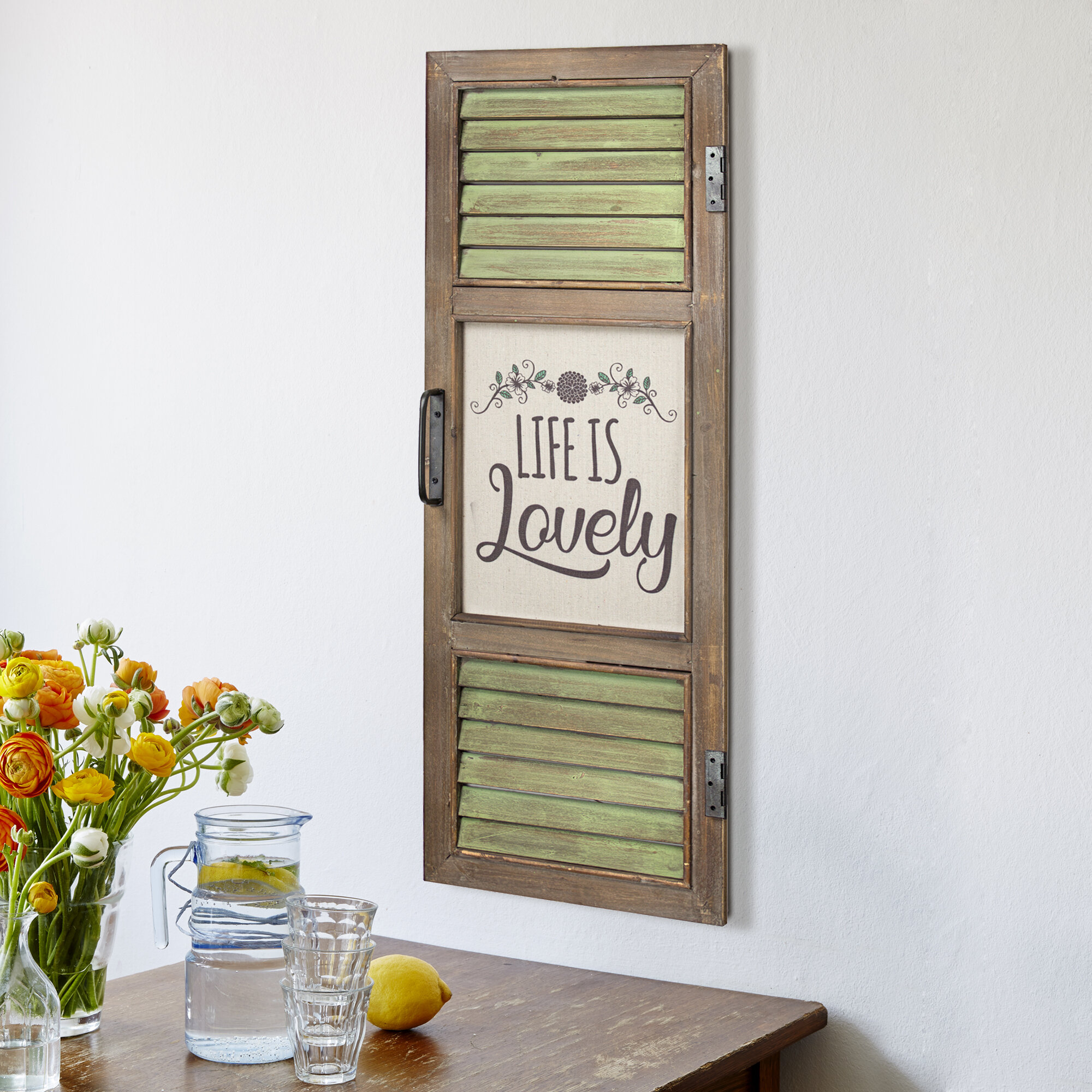 Delicia Life Is Lovely Window Shutter Sign Wall Decor