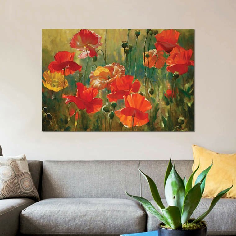 Brambly Cottage Poppy Fields By Emma Styles Graphic Art Print On Wrapped Canvas Wayfair Co Uk