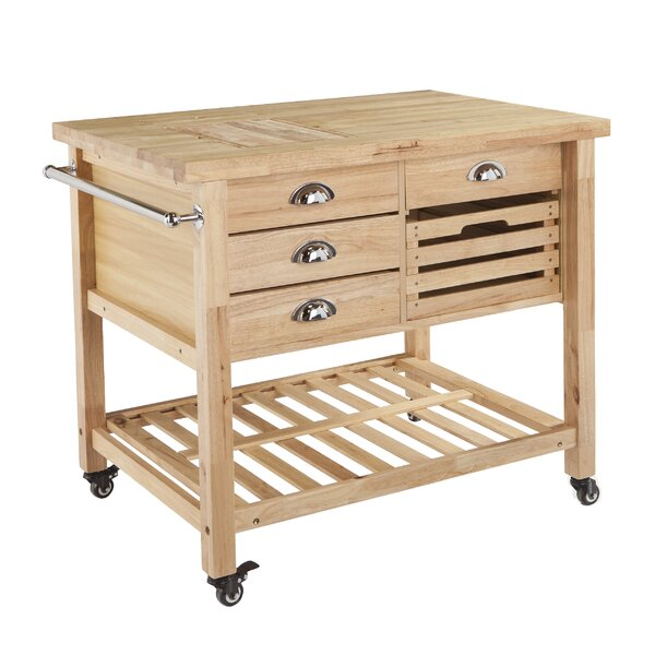 wood drawer cart august grove ellisville kitchen cart with wood top reviews wayfair
