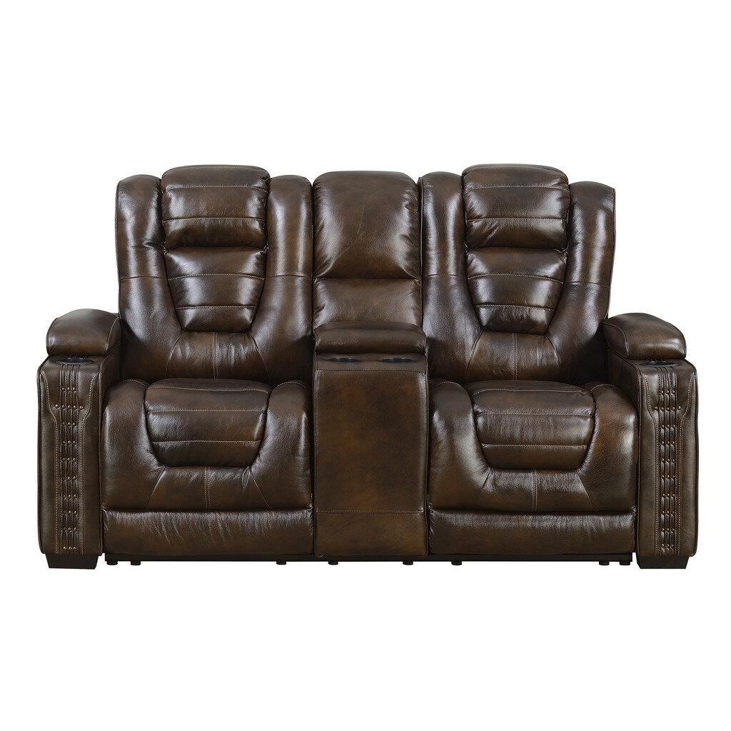 Red barrel studio barnhart dual power leather reclining loveseat wayfair