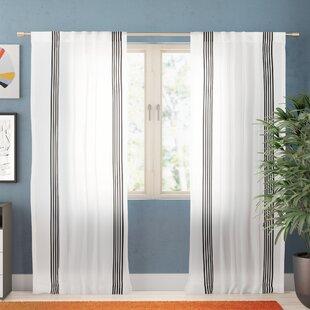 Edgardo Sheer Faux Linen Stripe Semi-Sheer Rod Pocket Curtain Panels (Set of 2) by Zipcode Design