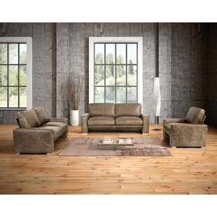 Union Rustic Holden 3 Piece Leather Livin..