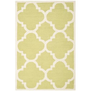 Charlenne Wool Green / Ivory Area Rug