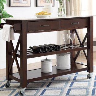 Brycen Kitchen Cart with Marble Top Charlton Home