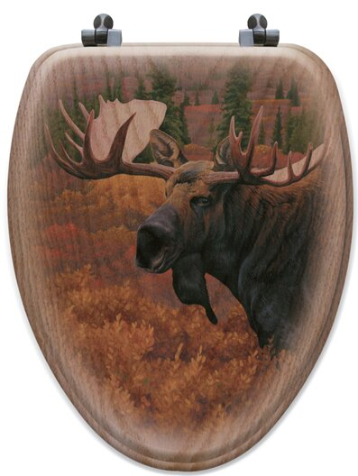 Terrific Denali Autumn Moose Oak Toilet Seat Forskolin Free Trial Chair Design Images Forskolin Free Trialorg