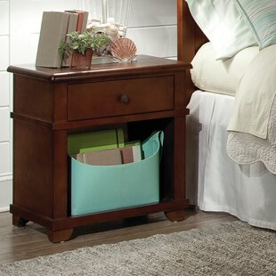 Bonneau 1 Drawer Solid Wood Nightstand by Harriet Bee