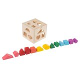 Wooden shape sorter- classic toddler cube puzzle toy with shape cutouts and 12 colourful geometric blocks-learning activity for toddlers by hey! play!