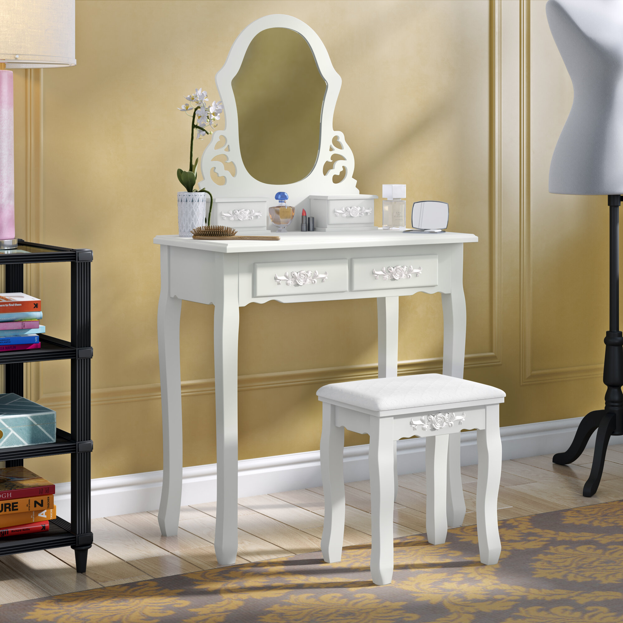 Vanities Home White Bedroom Wood Dressing Table With 4 Drawers White For Young Girls Makeup Table With Oval Mirror Comfort Cushion Stool Vanity Table Set