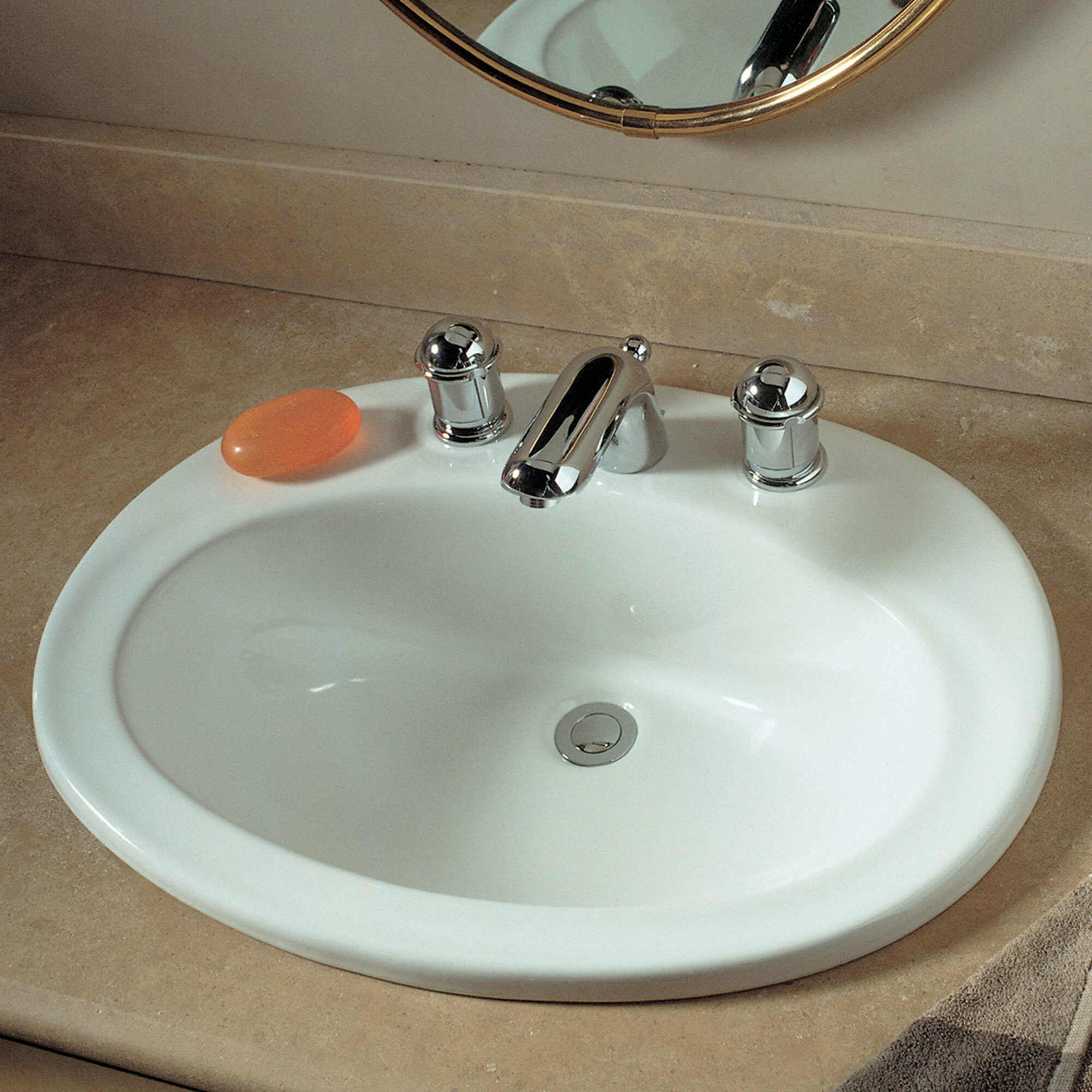 American Standard Piazza Ceramic Oval Drop In Bathroom Sink With