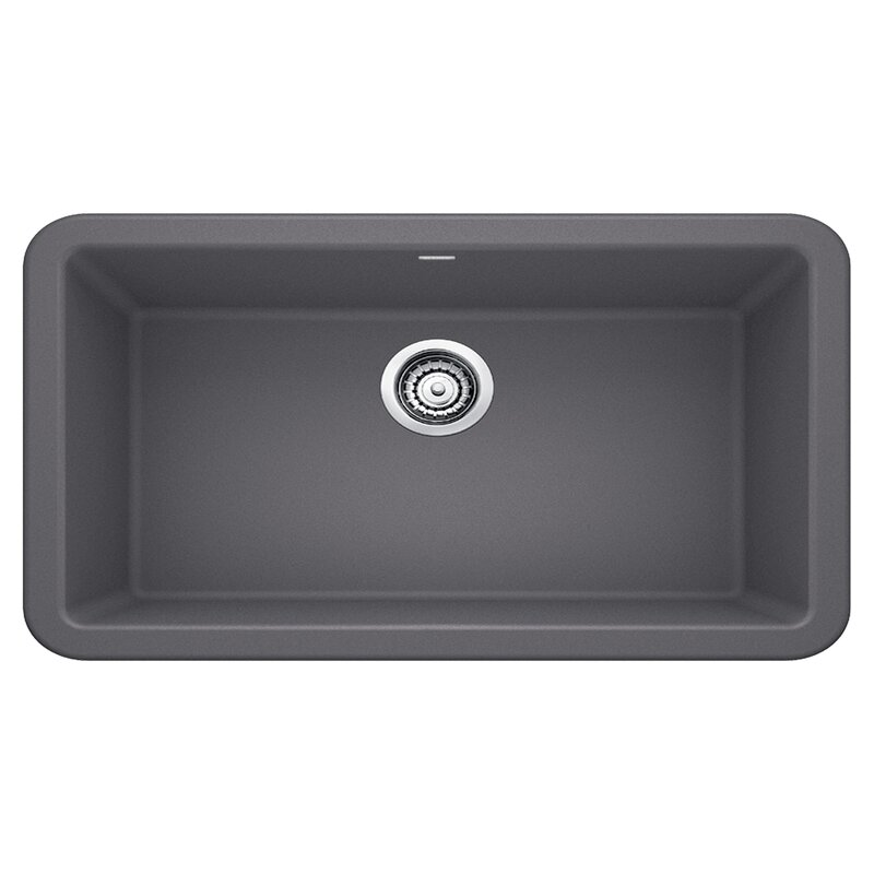 "Blanco Ikon 33"" L x 19"" W Farmhouse/Apron Kitchen Sink  Finish: Cinder"