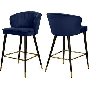 Brilliant Stratton Velvet 28 Bar Stool Set Of 2 Alphanode Cool Chair Designs And Ideas Alphanodeonline