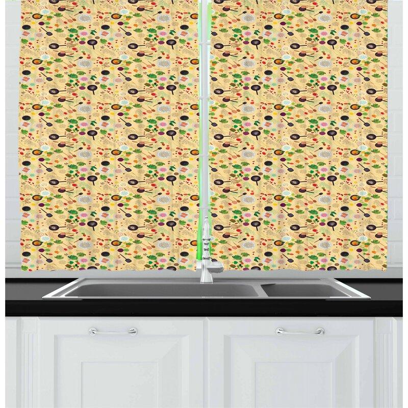 East Urban Home Vegetable Kitchen Curtain Wayfair