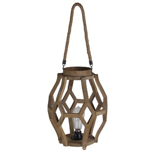 Large Wood LED Lantern By Privilege