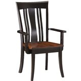 Destiny Solid Wood Slat Back Arm Chair in chocolate Brown by Red Barrel Studio®