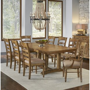Ian 9 Piece Extendable Solid Wood Dining Set