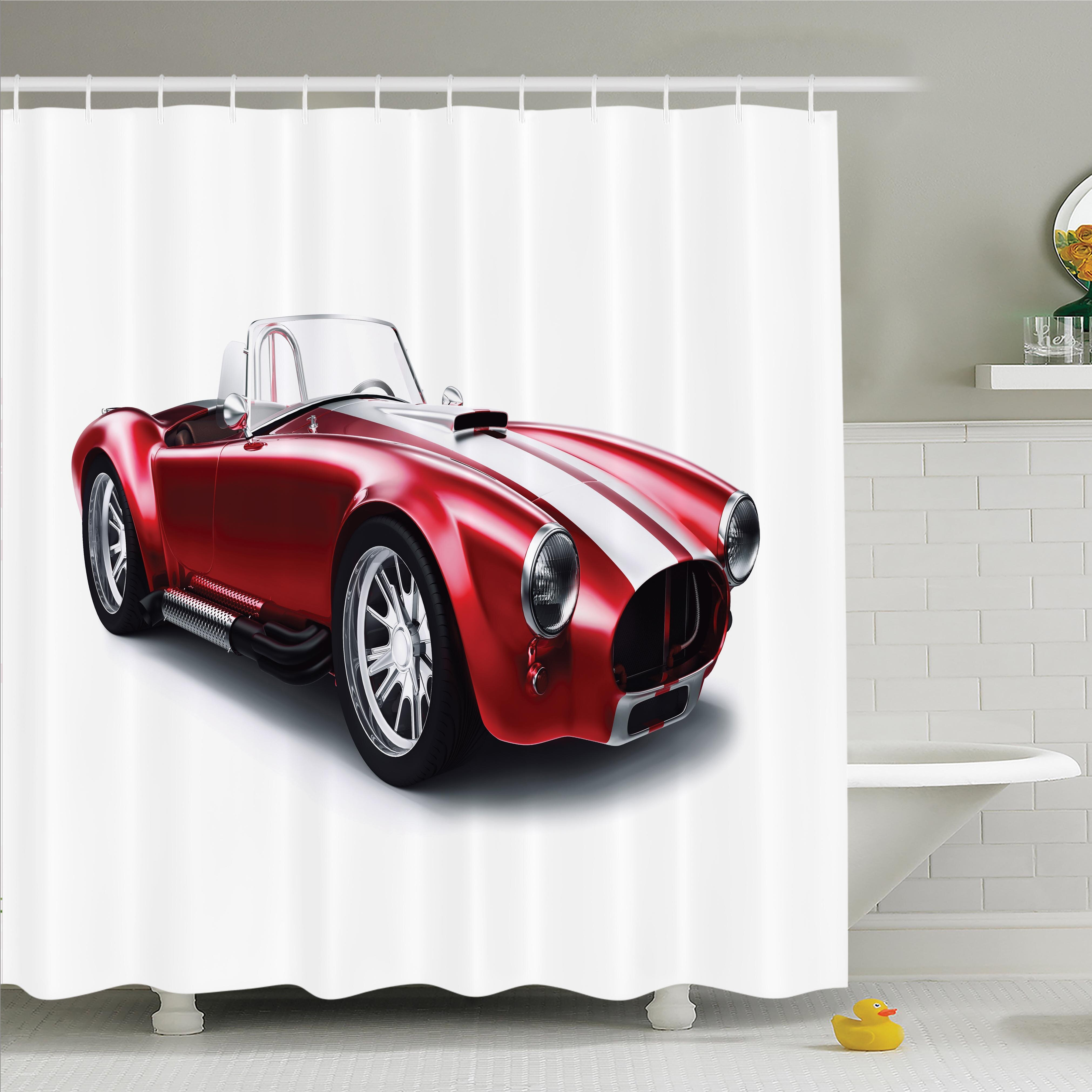 Ambesonne Old Fashioned Vintage Car Shower Curtain Set