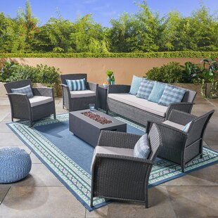 Helena Outdoor 7 Piece Rattan Sofa Seating Group with Cushions