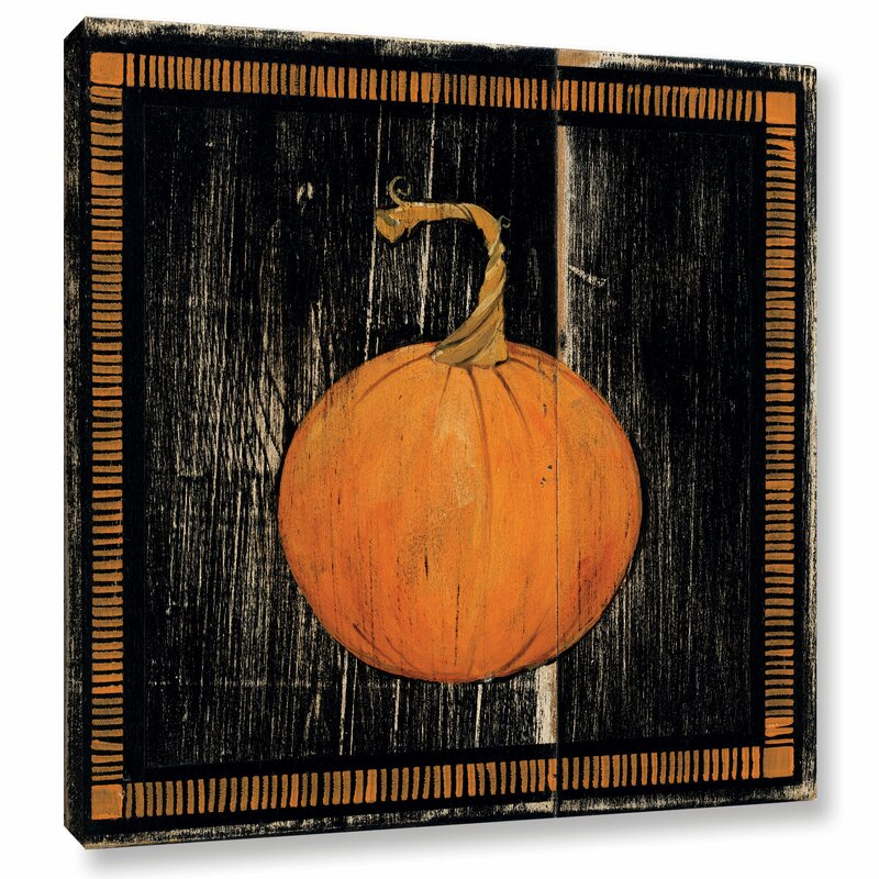 Orange and Black Distressed Polka Dot Pumpkin I Painting Print