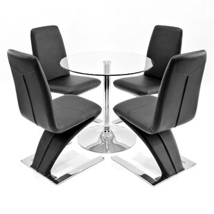 Andromeda Dining Set With 4 Chairs By Metro Lane