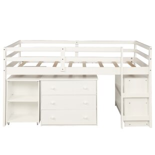 Twin Low Loft Bed with Cabinet and Desk by Harriet Bee