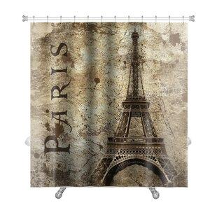 Skyline Vintage View of Paris on the Grunge Premium Shower Curtain ByGear New
