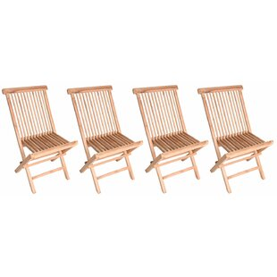 Myla Wood Folding Teak Patio Dining Chair (Set of 4)