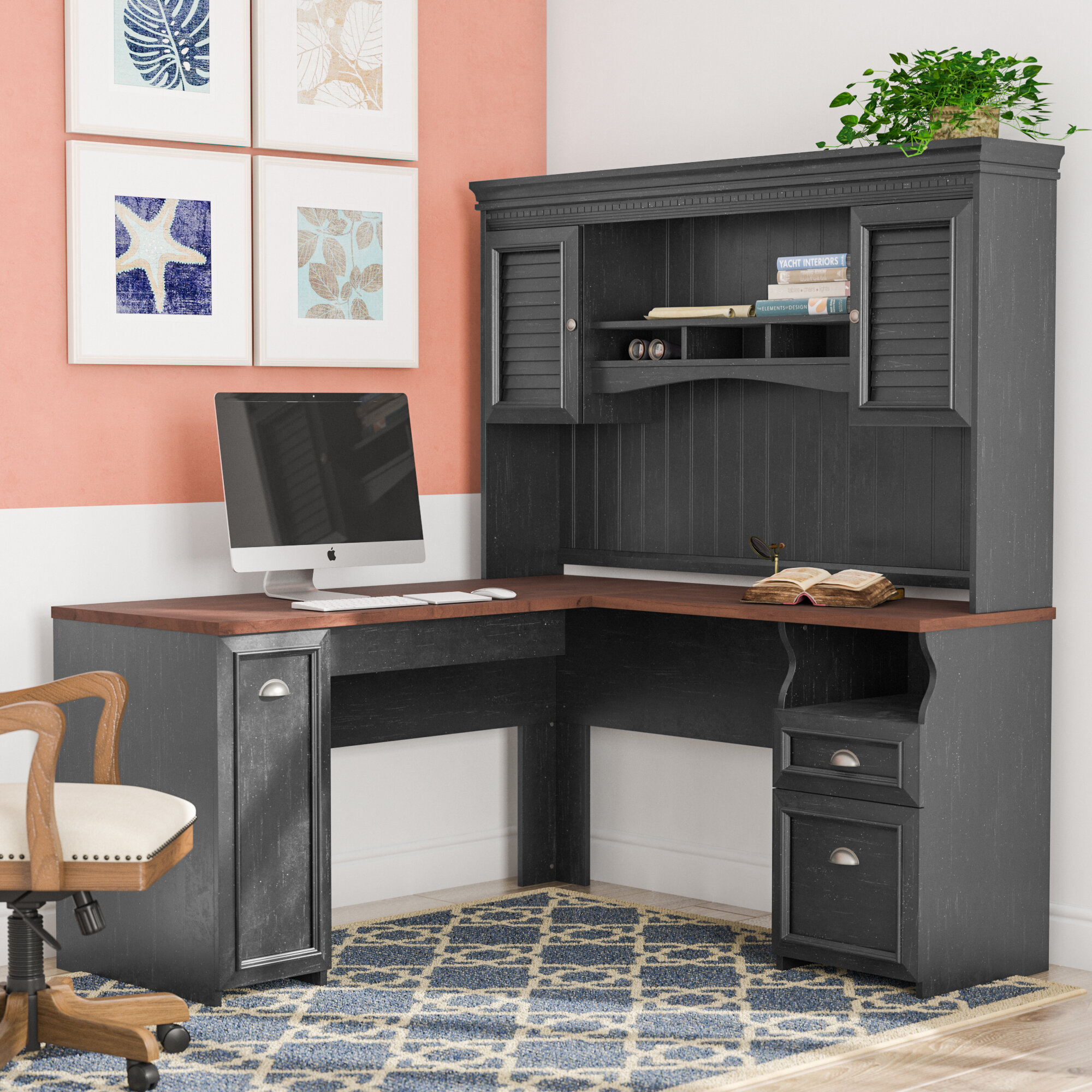 desk hutch shaped additional office design size fresh full home with ideas l of cabinetry
