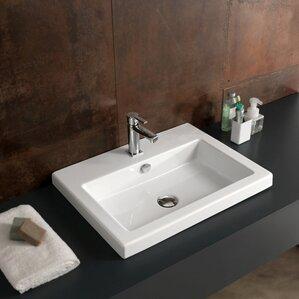 cangas ceramic rectangular drop in bathroom sink with overflow - Overmount Bathroom Sink