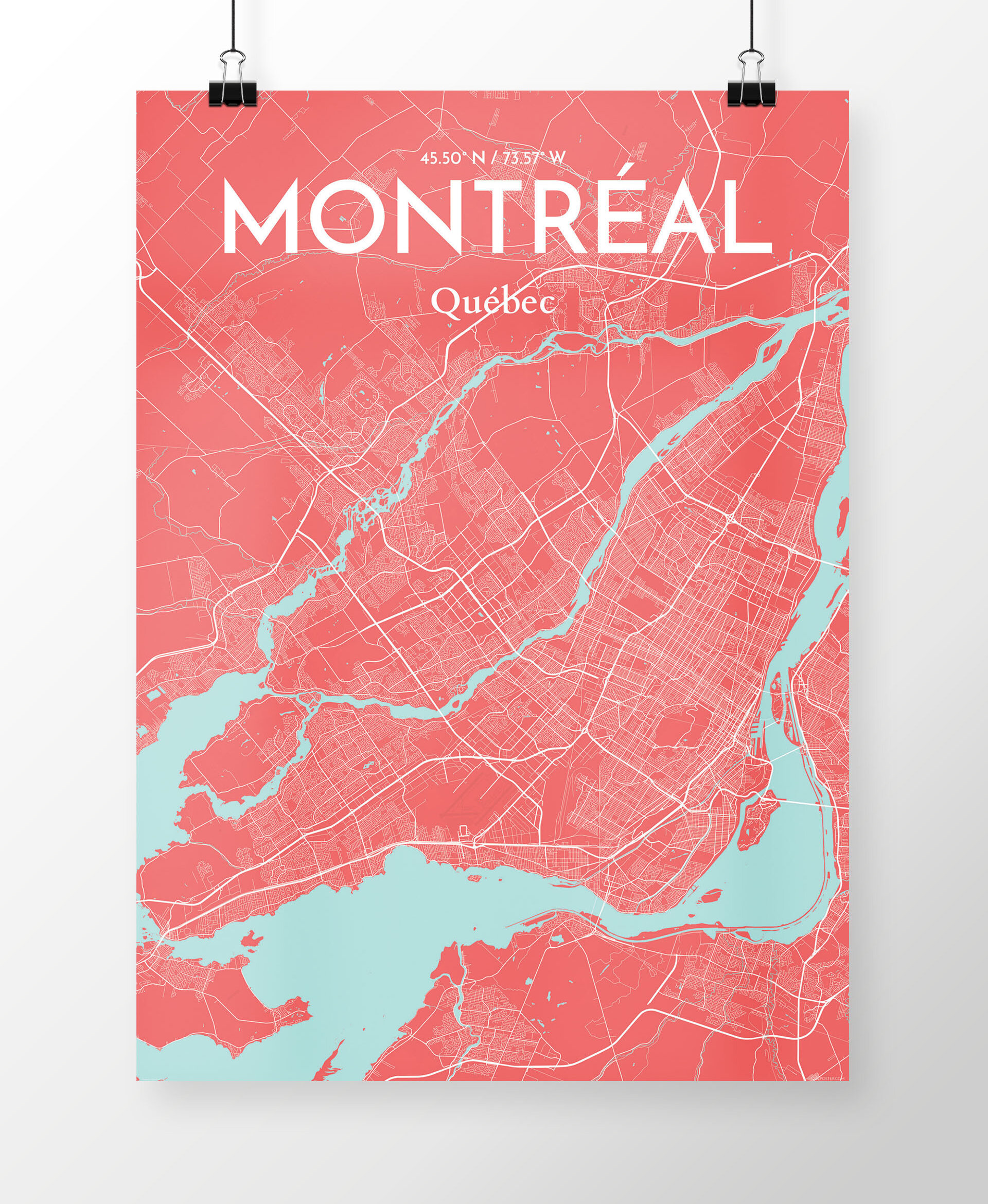 photo about Printable Map of Montreal known as Montreal Metropolis Map Image Artwork Print within Coral