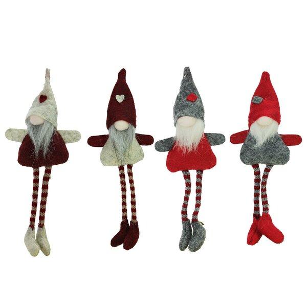 the holiday aisle plush decorative gnome christmas ornaments 4 piece hanging figurine set reviews wayfair