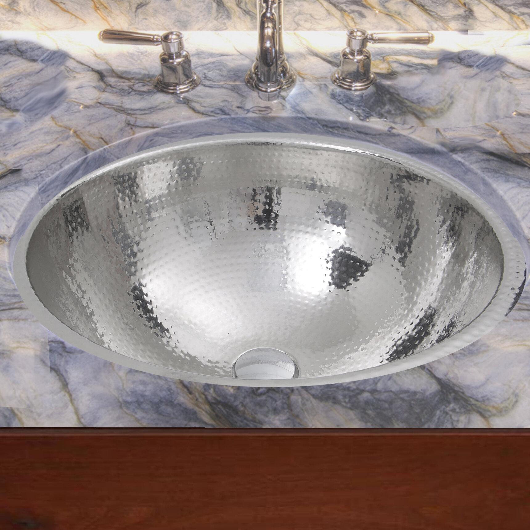Nantucket Sinks Hand Hammered Stainless Steel Circular Undermount Bathroom Sink With Overflow Wayfair