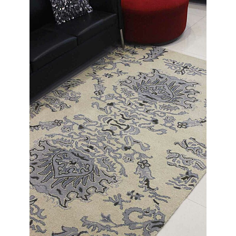 Darby Home Co Creasey Floral Handmade Tufted Wool Beige Blue Area Rug Wayfair