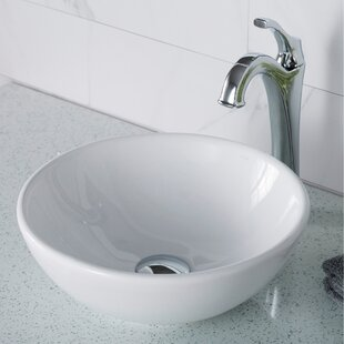 Shop For Elavo Ceramic Circular Vessel Bathroom Sink with Faucet By Kraus