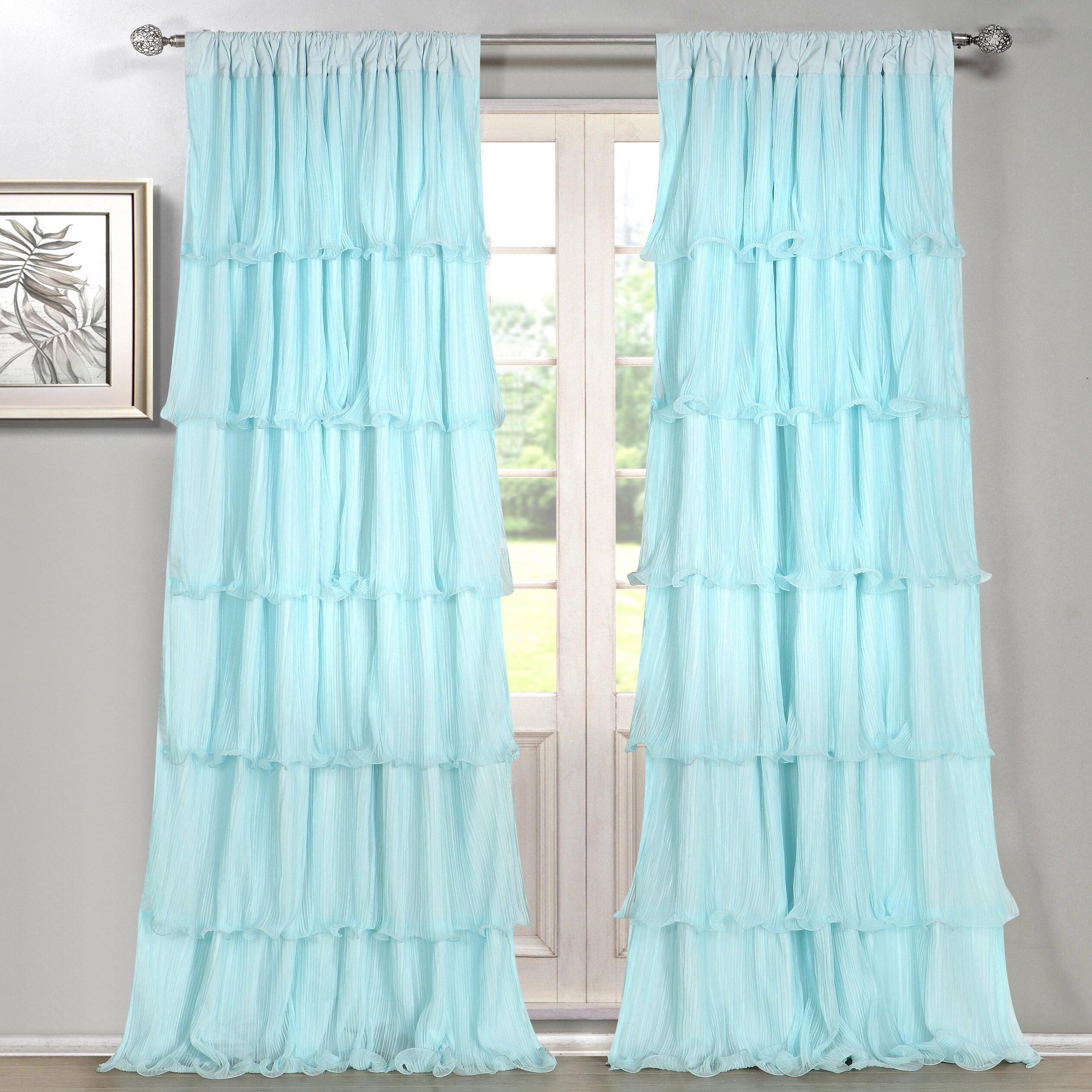 House Of Hampton Messick Layered Ruffles Solid Semi Sheer Rod Pocket Curtain Panels Reviews Wayfair